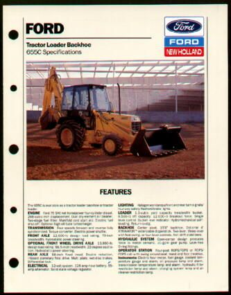 Ford 655C Tractor Loader Backhoe Specs Brochure