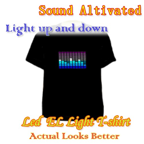 Flashing Light Up and Down Musi Sound Activated LED EL T Shirt Dress N
